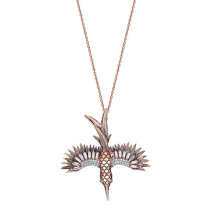 Kismet by Milka 14ct rose gold and diamond open wing bird necklace