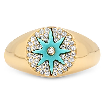 Colette 18ct yellow gold, turquoise and diamond star pinky ring