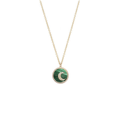 Noush 14ct yellow gold and diamond moon on malachite necklace