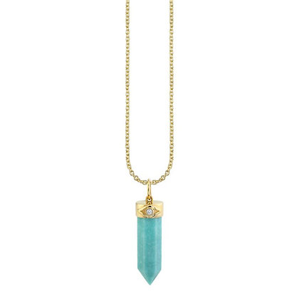 Sydney Evan 14ct gold, turquoise and diamond crystal pendant necklace