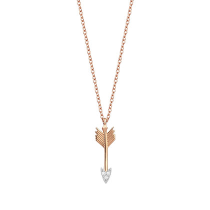 Kismet by Milka 14ct rose gold and diamond small arrow necklace