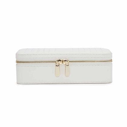 Maria rectangle zip jewellery case - white