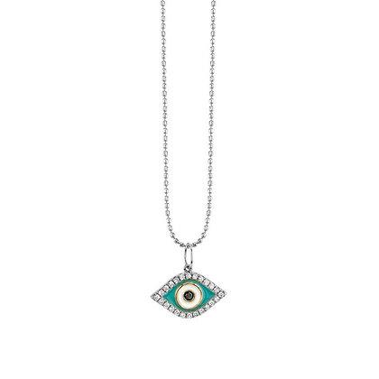Sydney Evan 14ct white gold and diamond evil eye enamel necklace