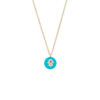 Noush 14ct yellow gold and diamond hamsa on turquoise necklace