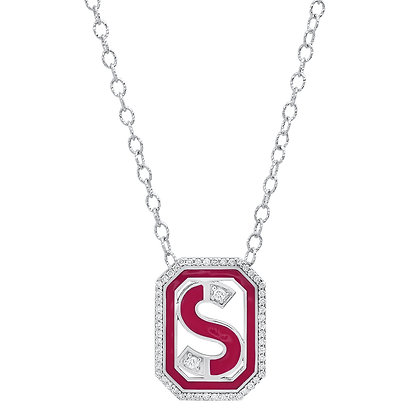 Colette 18ct white gold and diamond 'S' initial necklace