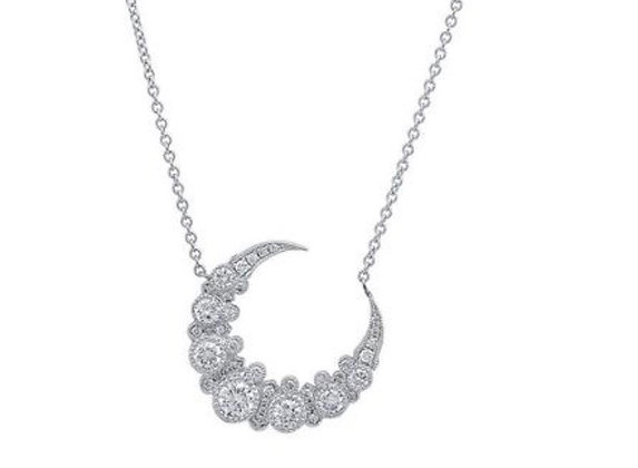Colette 18ct white gold and diamond crescent moon necklace
