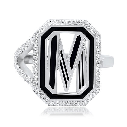 Colette 18ct white gold and diamond 'M' initial ring