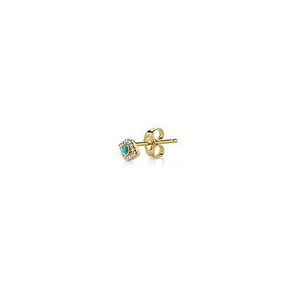 Sydney Evan 14ct gold, diamond and turquoise evil eye stud earring (single)
