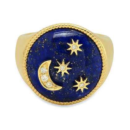 Colette 18ct yellow gold, lapis moon and star diamond pinky ring