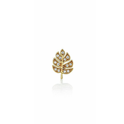 Sydney Evan 14ct gold and diamond monstera leaf stud earring (single, right)