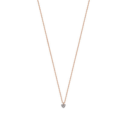 Kismet by Milka 14ct rose gold and diamond mini heart necklace