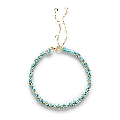 18ct gold Kumachi bracelet with turquoise silk cord