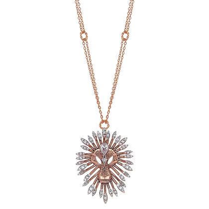 Kismet by Milka 14ct rose gold large lion diamond necklace