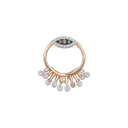 Kismet by Milka 14ct rose gold and diamond front circle drop stud (single)
