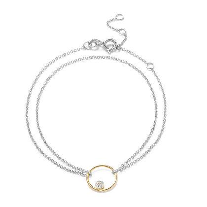 The Alkemistry 18ct bi-gold floating diamond circle bracelet