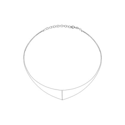 Kismet by Milka 14ct white gold and diamond bar chain choker
