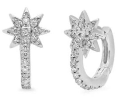 Colette 18ct white gold and diamond star huggies (pair)