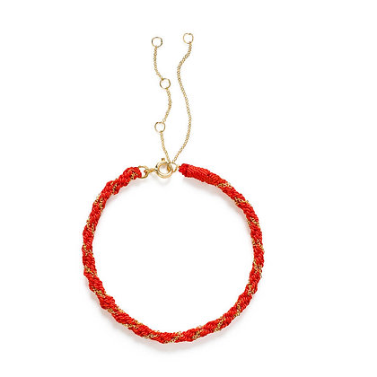 18ct gold Kumachi bracelet with coral silk cord
