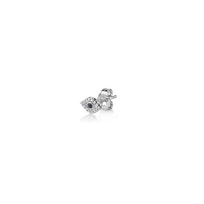 Sydney Evan 14ct white gold, diamond and sapphire evil eye stud earring (single)