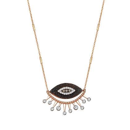Kismet by Milka 14ct rose gold 10th eye diamond necklace