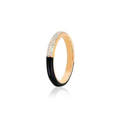 EF Collection 14ct two tone diamond and black enamel band ring