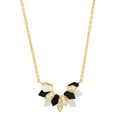 Colette 18ct yellow gold, diamond, pearl and onyx penacho fan necklace