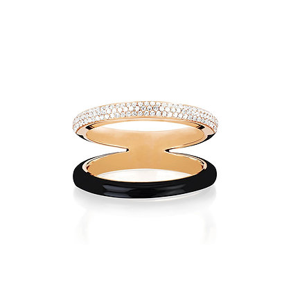 EF Collection 14ct two tone diamond and black enamel split band ring