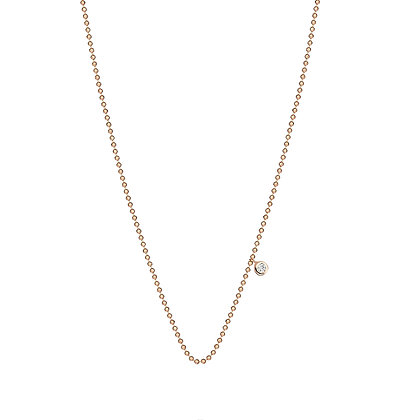 Kismet by Milka 14ct rose gold and solitaire diamond chain necklace