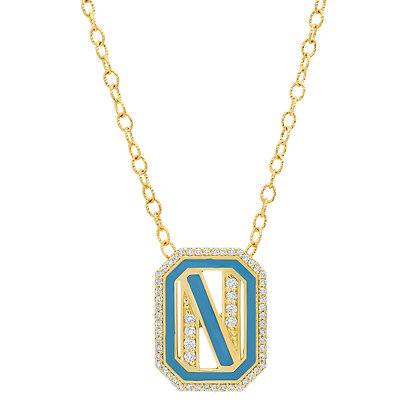 Colette 18ct yellow gold and diamond 'N' initial necklace