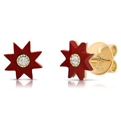 Colette 18ct yellow gold, jasper and diamond star studs (pair)