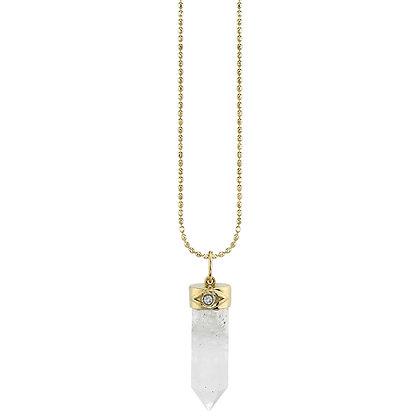 Sydney Evan 14ct gold, moonstone and diamond crystal pendant necklace