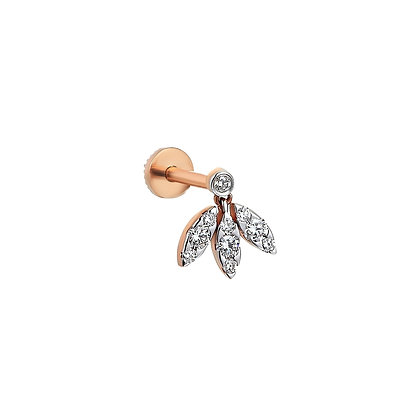 Kismet by Milka 14ct rose gold and 3 marquise diamond piercing (singl