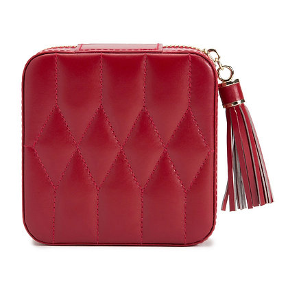 WOLF luxury red quilted leather jewellery pouch