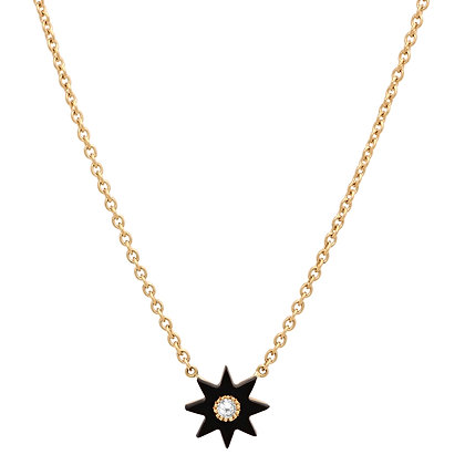 Colette 18ct yellow gold, black onyx and diamond star necklace