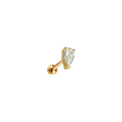 Kismet by Milka 14ct yellow gold and pear diamond piercing (single)