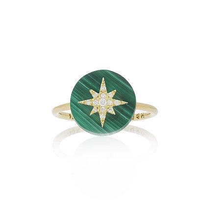 Noush 14ct yellow gold and diamond north star on malachite ring