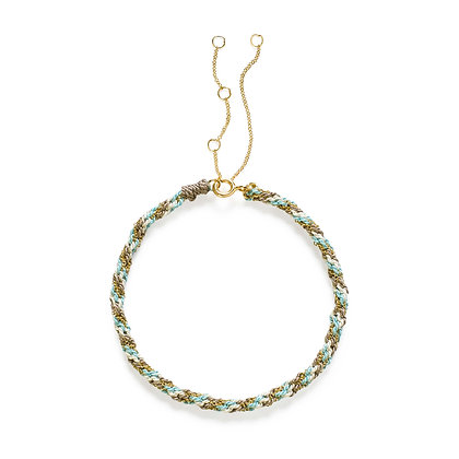 18ct gold Kumachi bracelet with grey, blue and white silk cord