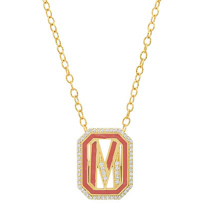 Colette 18ct yellow gold and diamond 'M' initial necklace