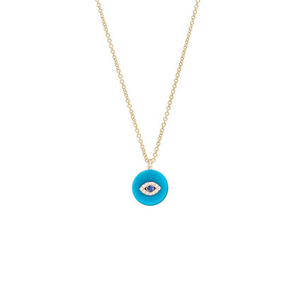 Noush 14ct yellow gold evil eye on turquoise necklace