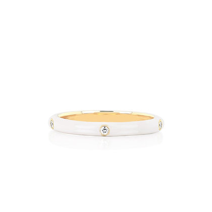 EF Collection 14ct gold and diamond white enamel stack ring