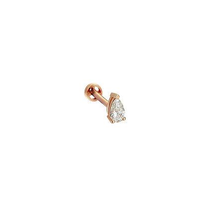 Kismet by Milka 14ct rose gold small pear diamond piercing (single)