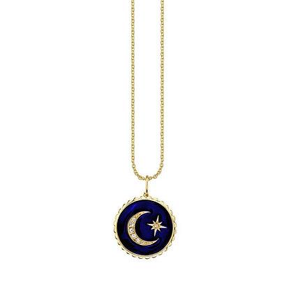 Sydney Evan 14ct gold celestial enamel medallion necklace