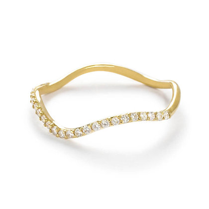 The Alkemistry 18ct yellow gold half eternity wave ring