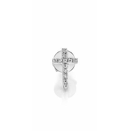 Sydney Evan 14ct white gold and diamond mini cross stud earring (single)