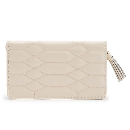 WOLF luxury ivory quilted leather jewellery pouch