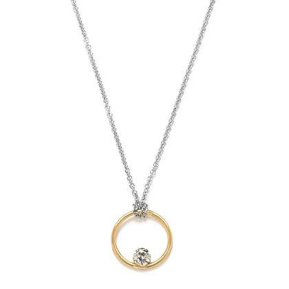 The Alkemistry 18ct bi-gold floating diamond circle necklace