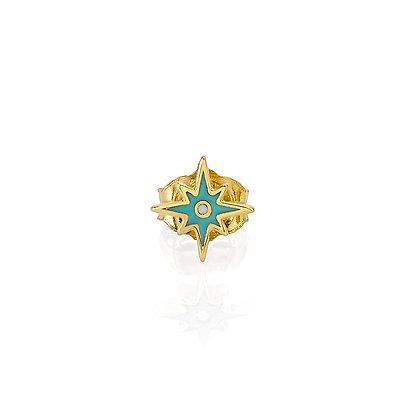Sydney Evan 14ct gold, diamond and turquoise enamel stud earring (single)