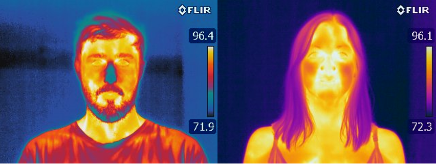 A thermal drone taking an infrared image of a commercial roof.