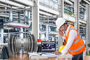 Electrical engineer working at modern th