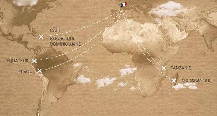 Carte du monde - Les Chocolats de Pauline